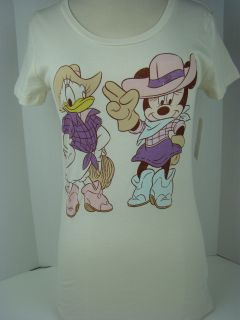 Disney Beige Daisy Duck Mickey Mouse Cowgirls Tee Shirt Junior 1039