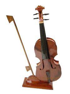 Hand Crafted Mahogany Desktop Wood Wooden Model Violin Musical Instrument