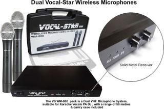 Vocal Star Wm 880 Dual Twin 2 VHF Wireless Microphones for Karaoke Machine Djpa