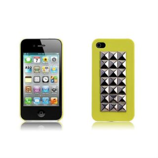 Neon Yellow Cool Studded Silver Stud Hard Case Cover iPhone 4 4S 4G Stylus