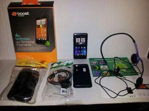 EVO DESIGN 4G BLACK BOOST MOBILE SMARTPHONE ALL ACCESSORIES FREE SHIP