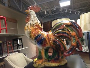 "French Country Large Ceramic Rooster Figurine Statue Multicolored 21"" Tuscan New"