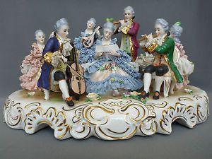 Antique German Dresden Porcelain Music Musical Instrument Group Figural Figurine
