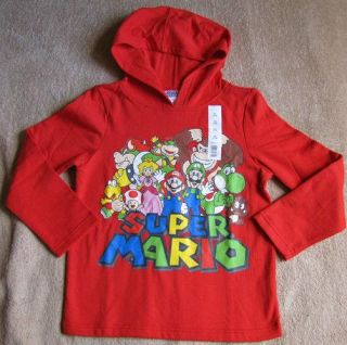 Nintendo Super Mario w Luigi Princess Peach Hoodie Sweater Shirt Sz 7 8