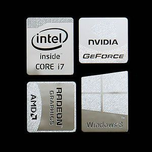 Haswell Intel Core i7 Logo Metal Decal Sticker WINDOWS8 NVIDIA Silver Type E
