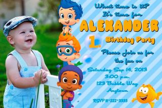 Bubble Guppies Birthday Party Invitations Personalized Custom Printable