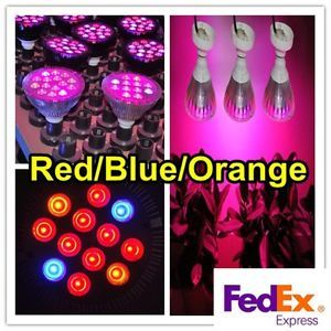 12W Par Optical Lens Hydroponic LED Plant Grow Light Lamp Bulb Red Blue Orange