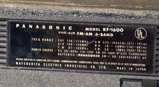 Panasonic RF 1600 6 Band World Radio Portable Unit with VHF AIF FM Am MB SW