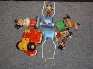 Vintage Mickey Mouse Walt Disney Toy Lot Gyro Plane Push Button Puppets Trapeze