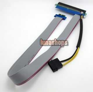 53cm PCI E Express 1x to 16x Riser Extender Card Molex Power Ribbon Long Cable