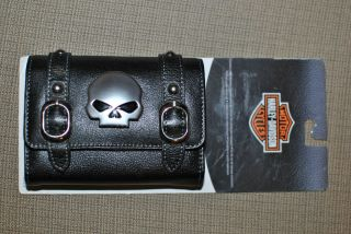 Harley Davidson Willie G Skull Leather Camera GPS PDA's Phone Cigarette Case