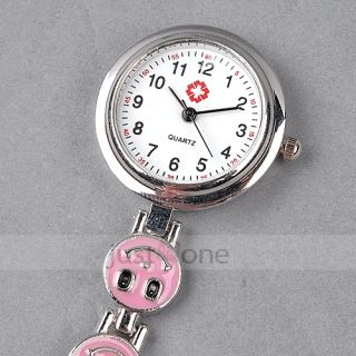 Heart Shape Smile Face Nurse Fob Brooch Pendant Quartz Pocket Watch Pink New