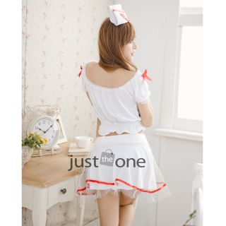 Hot Sexy Women White Nurse Costume Cosplay Tops Mini Dress Hat G String