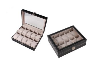 10 6 3 Slots Leather Wrist Watch Display Box Storage Holder Organizer Case