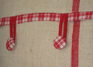 French Grain Sack Pillow w Red Stripes Antique Vintage