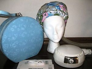 Vtg Portable Bonnet Hair Dryer Blue Storage Travel Case Carry on Cosmentic