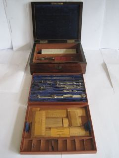 19thC Architects Engineers Technical Drawing Set Rulers in Rose Wood Box