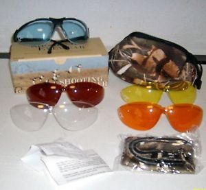 Ducks Unlimited Shooting Safety Glasses w 5 Interchangeable Lenses Camo Case