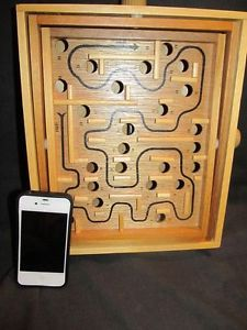 Vintage Wood Labyrinth Maze Strategy Game with Steel Marble