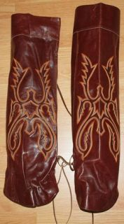 Larry Mahan Western Cowboy Half Chaps Knee High Leather Boot Covers Gaitor