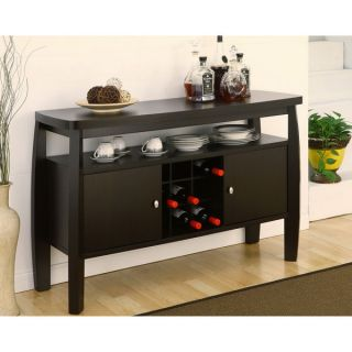 Zarin Espresso Wood Finish Wine Rack Cabinet Buffet Server Dining Room Sideboard