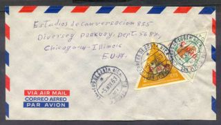 Costa Rica to USA Airmail Cover 1963 2 Triangle Stamps L K