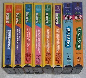 8 National Geographic Kids 2 Really Wild Animals 6 Geo Kids VHS Video Lot