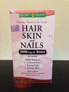 Nature's Bounty Vitamin Hair Skin and Nails 5000mcg of Biotin 250 Tablets New 074312075803