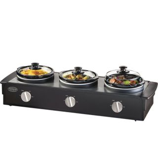 Nostalgia Triple Slow Cooker Buffet Server 3 Station Electric Food Warmer