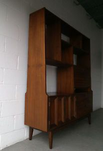 Mid Century Modern Walnut Room Divider Danish Style Credenza Wall Shelving Unit