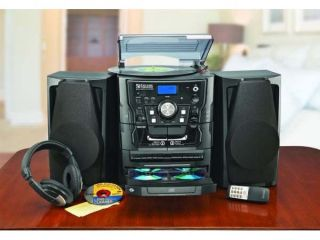 Encore Shelf Stereo System with Turntable 3 CD Radio and Dual Cassette Player