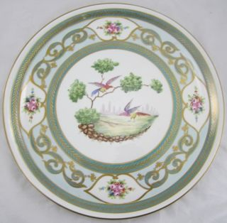 Large Decorative Pillivuyt French Paris Plate Hand Painted Floral Roses Birds