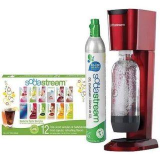 New SodaStream Fountain Jet Home Soda Maker Starter Kit Cherry Red