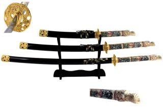 4 Pcs Closed Mouth Dragon Samurai Katana Sword Set Black Brand New