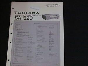 Toshiba Model SA 520 Am FM Stereo Receiver Service Data