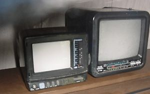 Vintage Mini Portable Television TV Set of Two Without Accessories Small Monitor