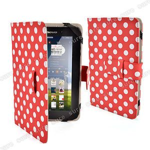 Ultra Slim Red Polka Dot 7 inch Universal Leather Cases Cover for Tablet PC