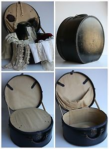 Vintage 1920s Edwardian Travel Hat Box Antique Luggage Case Industrial Steampunk