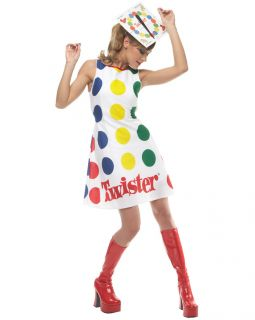 C334 Twister Sexy Board Game Dress 60s 70s Retro Fancy Dress Party Adult Costume