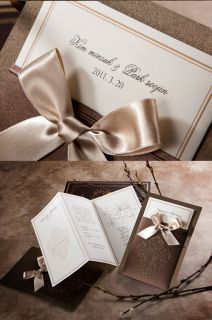 1 Sample Set Brown Wedding Invitations Card Envelope Seal QR10140