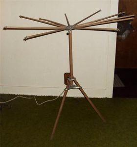 Antique Wooden Folding Clothes Dryer Primitive Wood 12 Arm Tripod Drying Rack