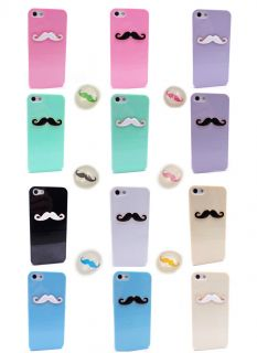 6pcs Home Button Sexy Chaplin Dumb Show 3D Mustache Case Cover for iPhone 5 5g