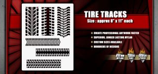 Tire Tracks Pattern Airbrush Stencil Template Paint