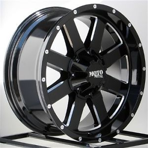 20 inch Black Wheels Rims Chevy Dodge RAM HD 2500 3500 8 Lug Truck Moto Metal