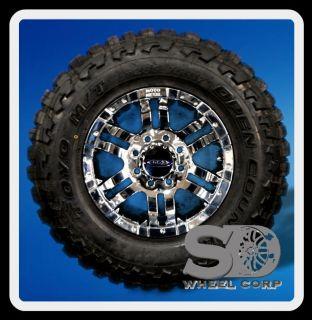 "17"" Moto Metal 951 Chrome Rims w 285 75 17 Toyo Open Country MT Tires Wheels"