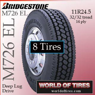 8 Tires Bridgestone M726 El 11R24 5 Semi Truck Tires 11R24 5 11R 24 5 Tires