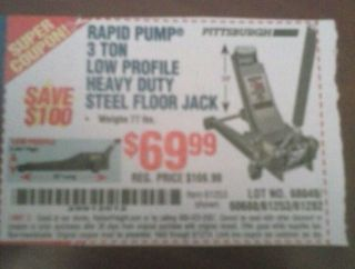 Harbor Freight Tools Super Coupon $100 00 Off 3 Ton Floor Jack Low Profile