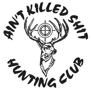 Hunting Club w Scope Funny Deer Buck Hunter Hunt Vinyl Truck Decal Sticker