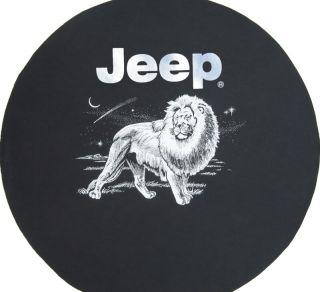 Sparecover® Brawny Series Jeep Logo 32 Lion on Heavy Black Denim Tire Cover