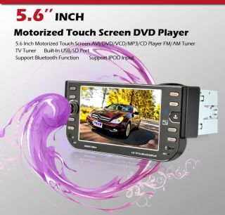 """Hot Selling 5 6""""Touch Screen 1 DIN Car Stereo DVD Player Radio iPod Bluetooth US"""